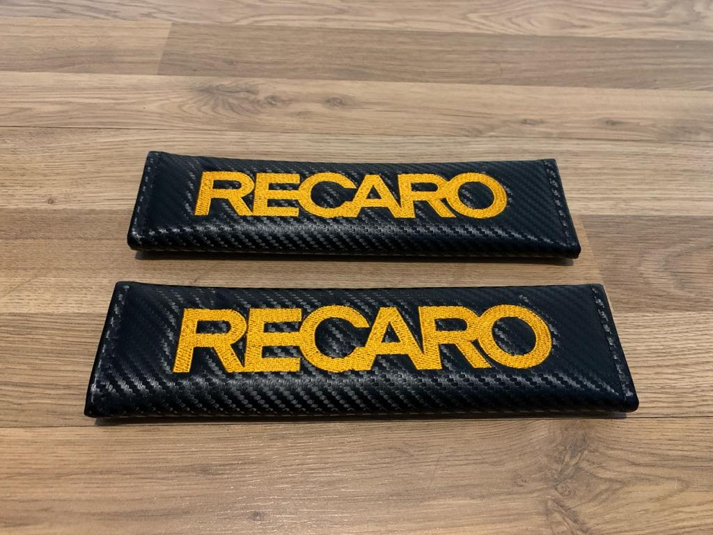 2X Seat Belt Pads Carbon Recaro Orange Bucket Seats Sport Racing Honda Ford Renault Bmw Audi Mercedes