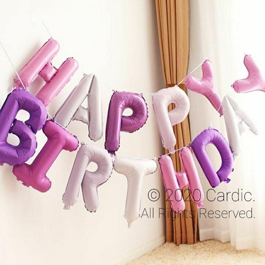 (Purple) Happy Birthday Balloons 16-inch   (粉紫色) 生日快樂 字母波波氣球 16吋   🎈Party/Celebration/Banner/Letters   🎈派對/記念日/慶祝活動/裝飾佈置/橫幅 🌏 Free International/Local Shipping!! 🎉 [限時優惠] 包 吹管1枝 繩帶1條