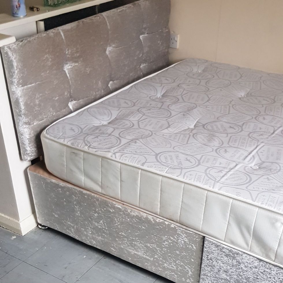 Crushed velvet bed and head board