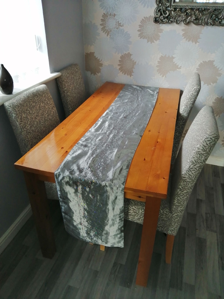 Silver and grey table & 4 chairs for sale