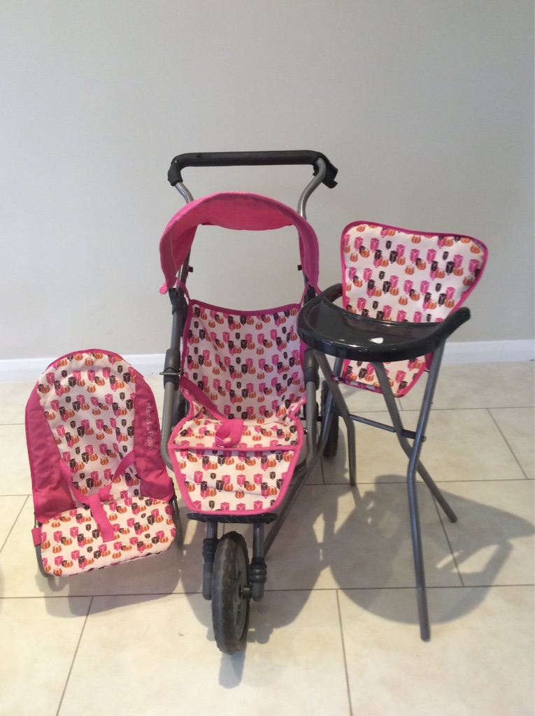 Mamas and Papas toy buggy/high chair/baby chair set