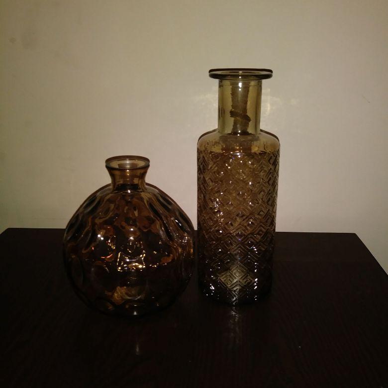 2 piece Brown Glass Vase
