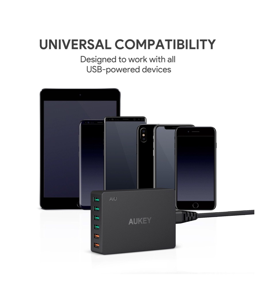 AUKEY 6- PORT USB CHARGER with 55.5W USB Charging Station with Quick Charge 3.0 Qualcomm Technology, Compatible with Samsung Galaxy S8/S8+/Note8, LG G6/V30, iPhone Xs/iPhone Xs Max/iPhone XR and More. (New)