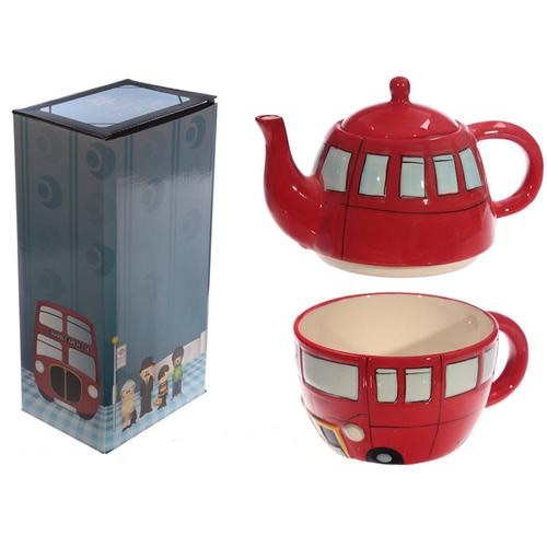 Novelty routemaster red bus teapot and cup