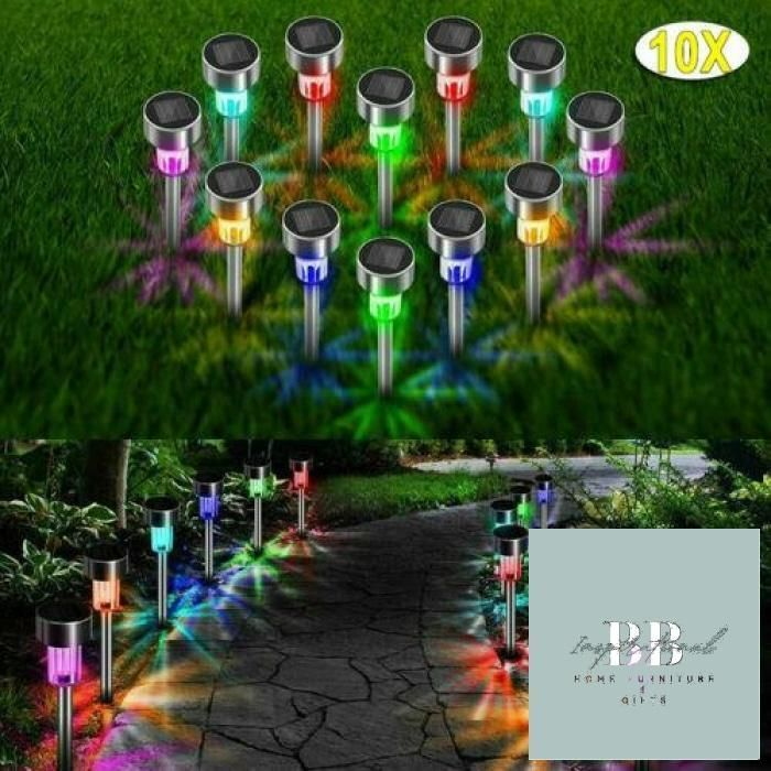 PACK OF 10 STAINLESS STEEL SOLAR POWERED COLOUR CHANGING LED GARDEN PATIO LIGHTS