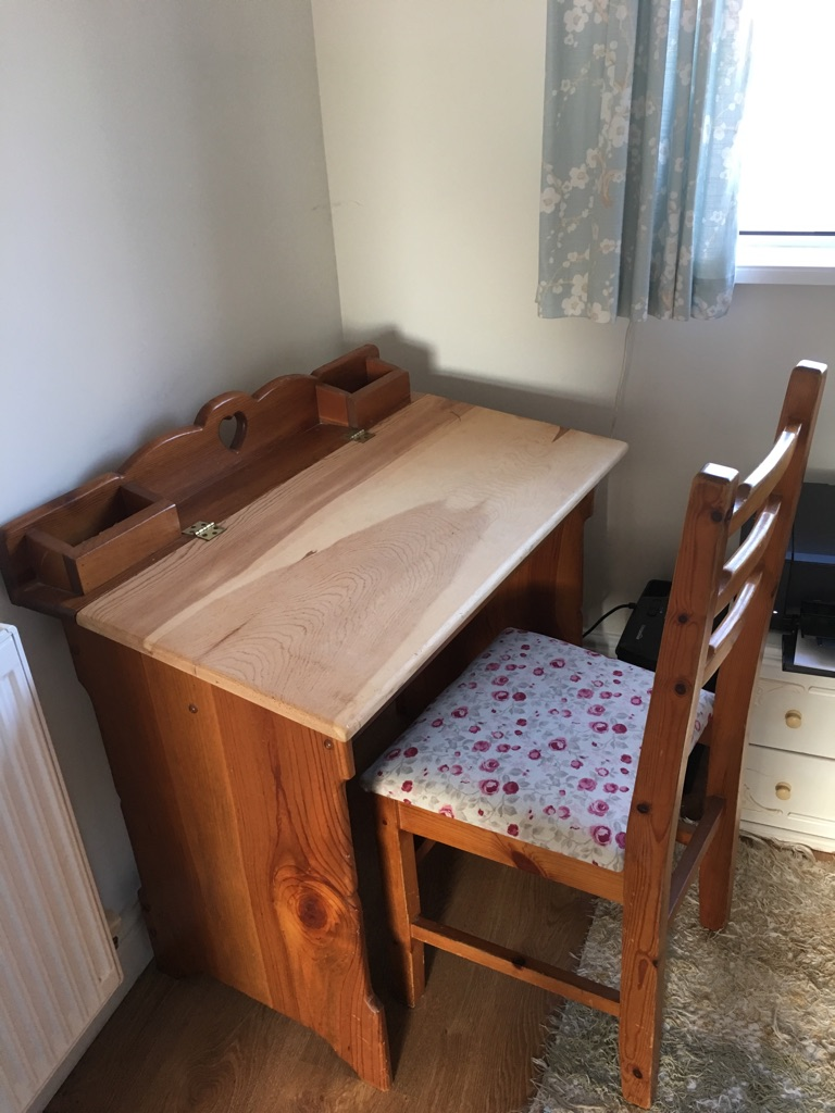 Pretty wooden desk and matching chair