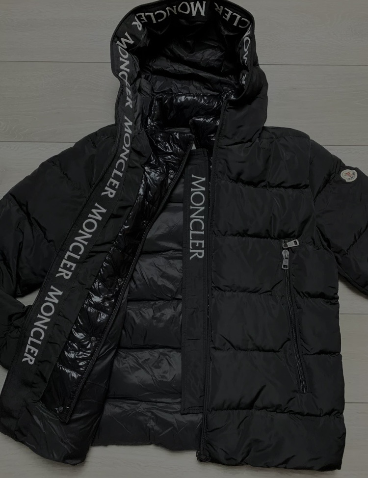 Moncler black puffer jacket Large new with tags