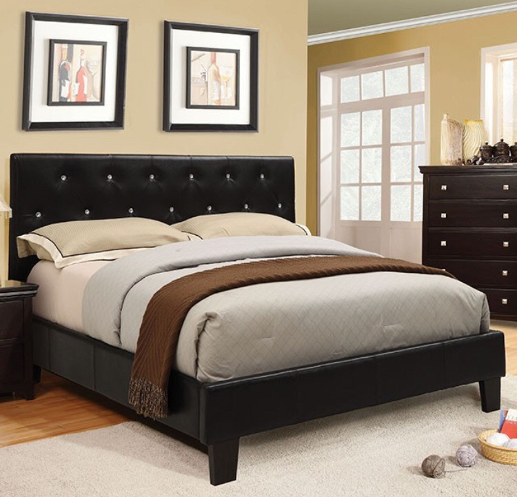Black Bling crystal like acrylics buttons Platform Bed