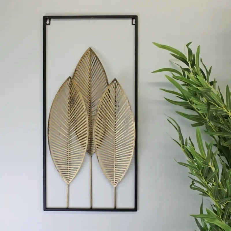 Metal Triple Gold Leaf Wall Hanging Decoration