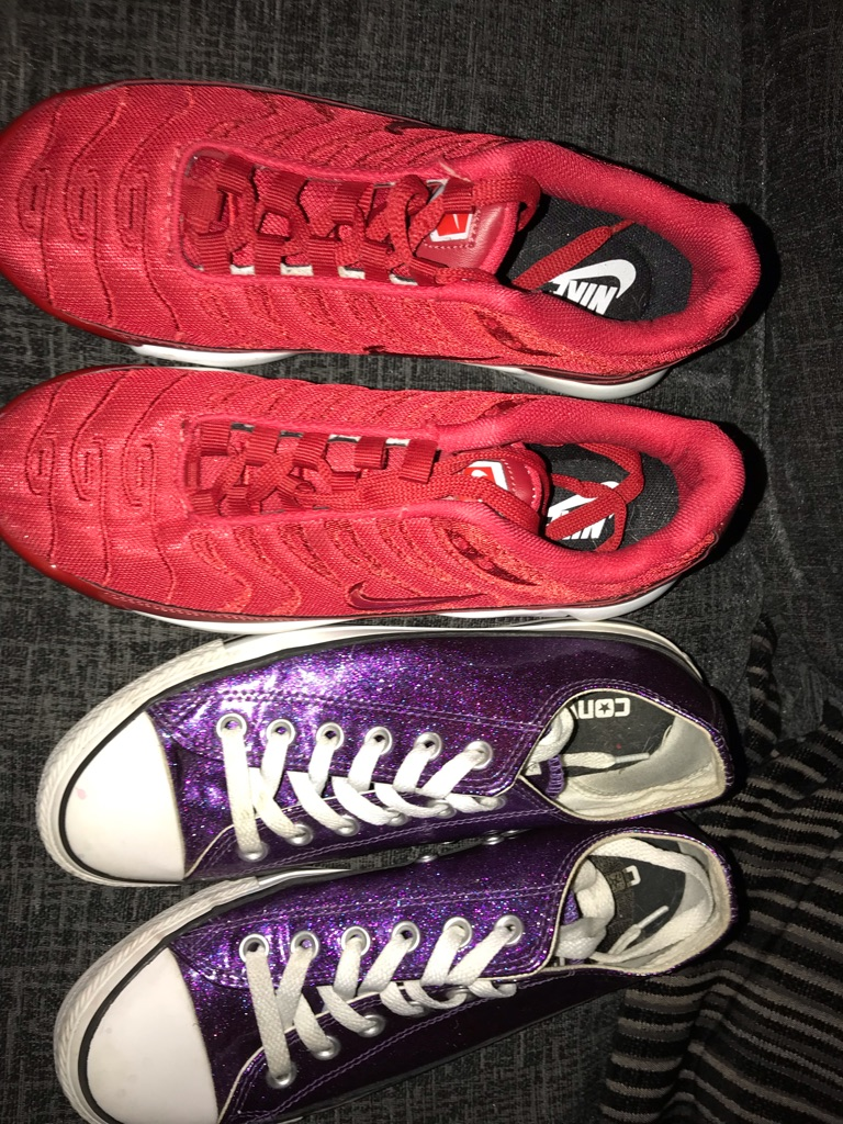 Red tns & purple glitter converse