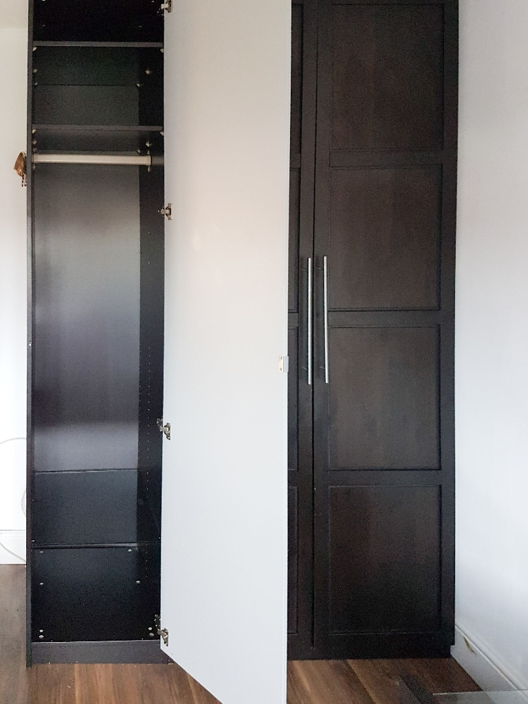IKEA Black-Brown PAX Wardrobe Double &  Single Mirrored Door