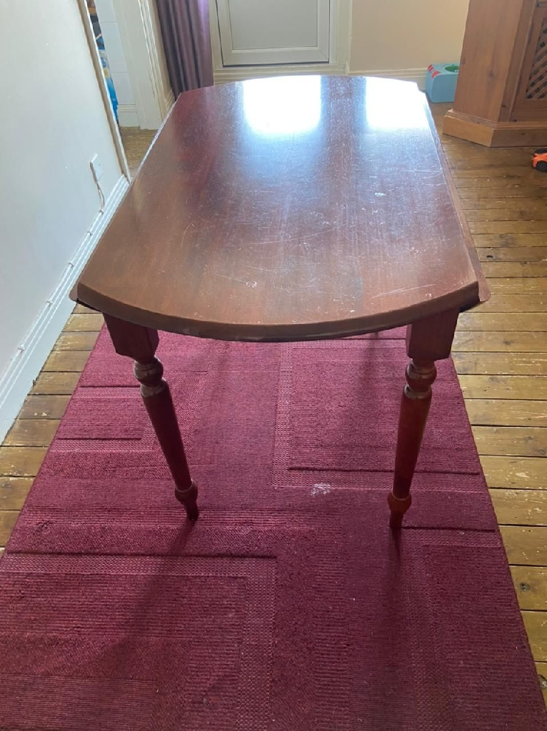 Wooden folding dining table with 4 upholstered seat chairs