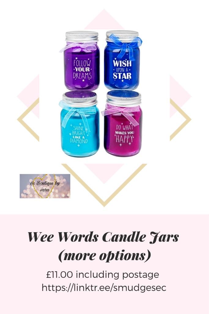 Wee words candle jars