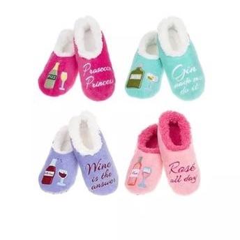Ladies fun 'snoozie boozie' slippers
