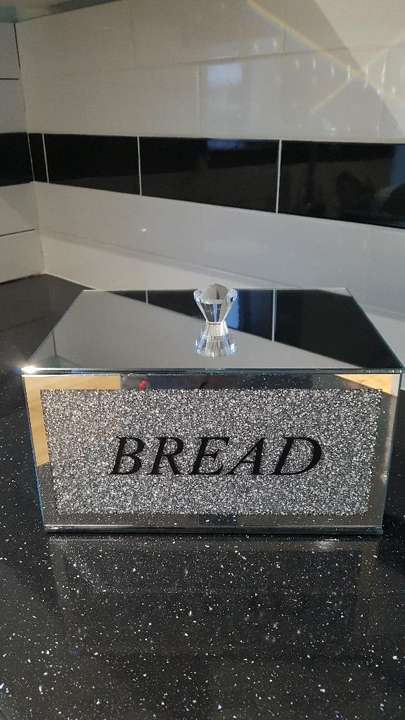 Beautiful large crushed crystal bread bin new