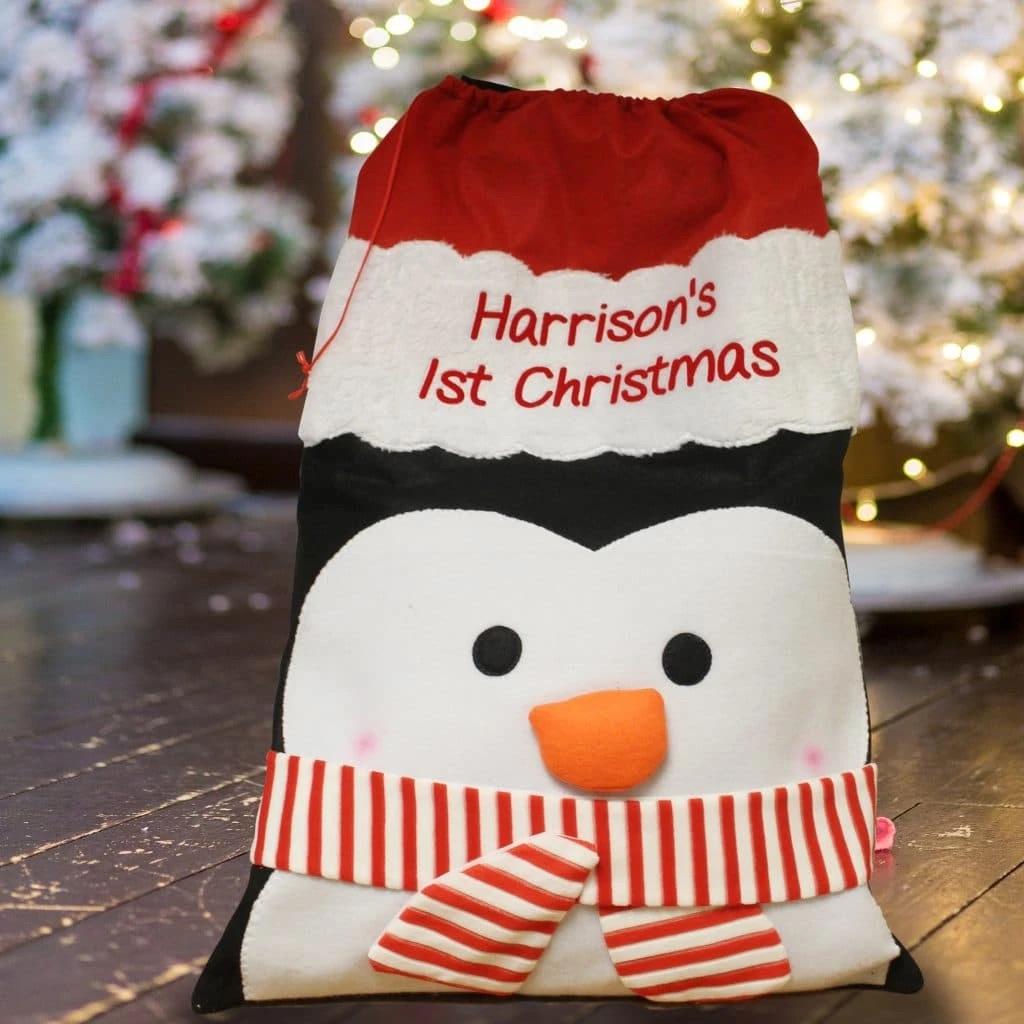 Personalised Christmas Penguin Santa Sack