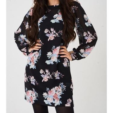 Black chiffon dress in floral print