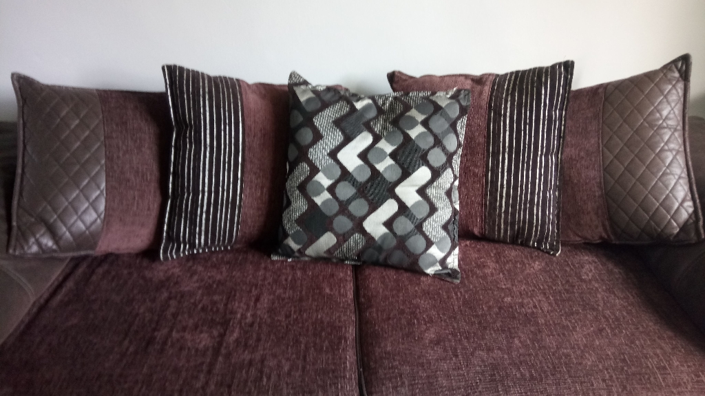 Dfs brown fabric sofa, just over 2 years old