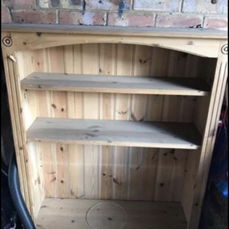 Distressed pine book shelf