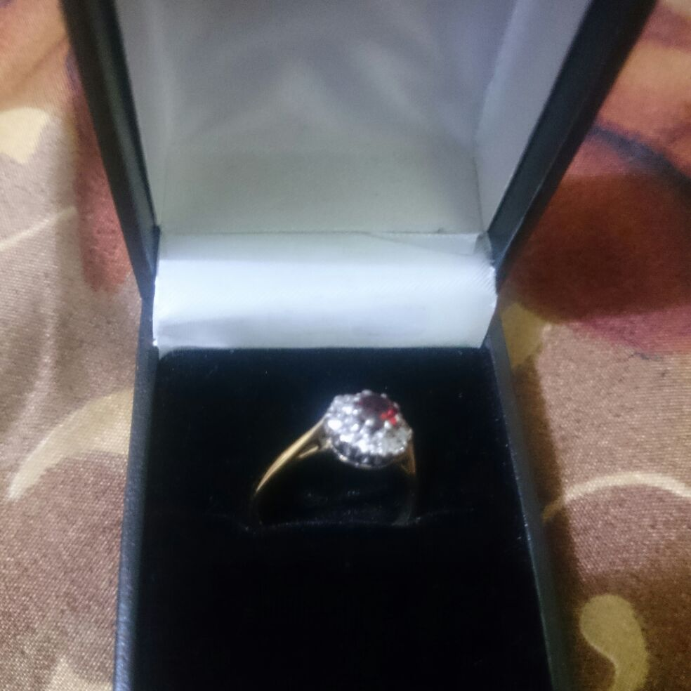 Genuine Solid 18 carat yellow gold Ruby and Diamond Flower Cluster Ring, Size N, 3.5 grams,  with box included