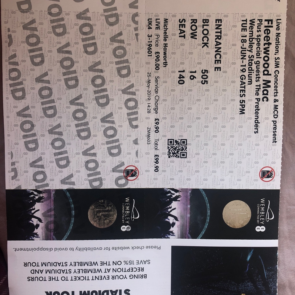 Ticket to Fleetwood Mac at Wembley Tuesday 18th June 2019