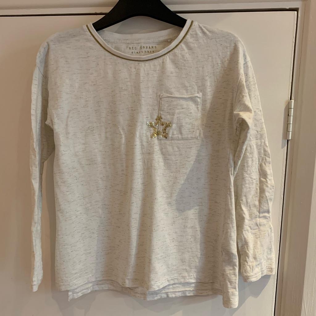 Girls cream long sleeve T-shirt 10 years