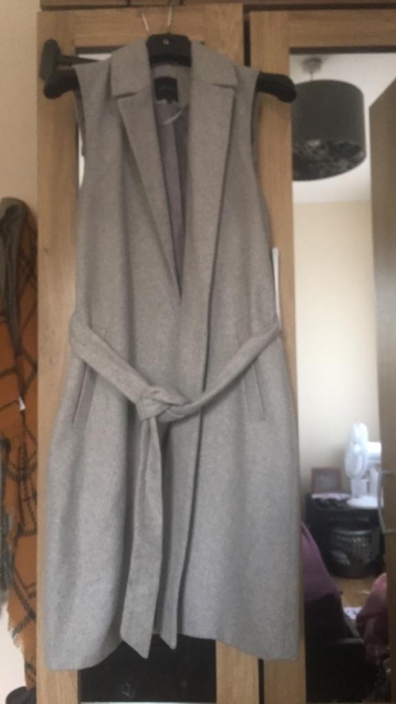 Grey Sleeveless Blazer - Tie Up