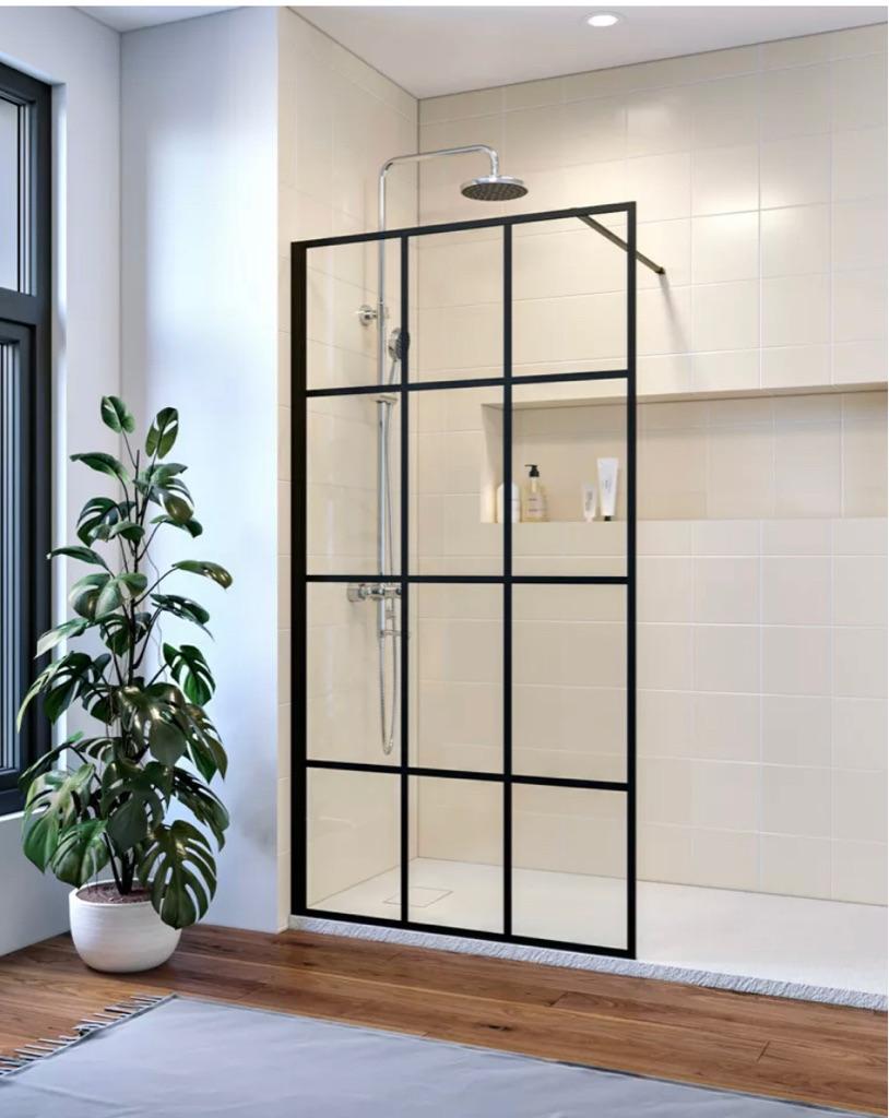 Walk in Wet Room Shower Enclosure Shower Screen Panel Mattblack 900x1850 mm