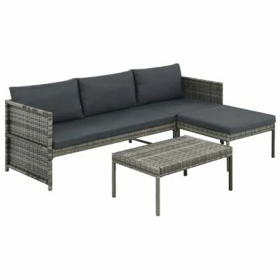 3 PIECE GARDEN LOUNGE SET WITH CUSHIONS POLY RATTAN GREY