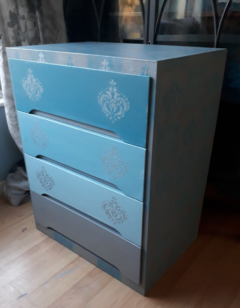 Painted bespoke design mid century chest of drawers
