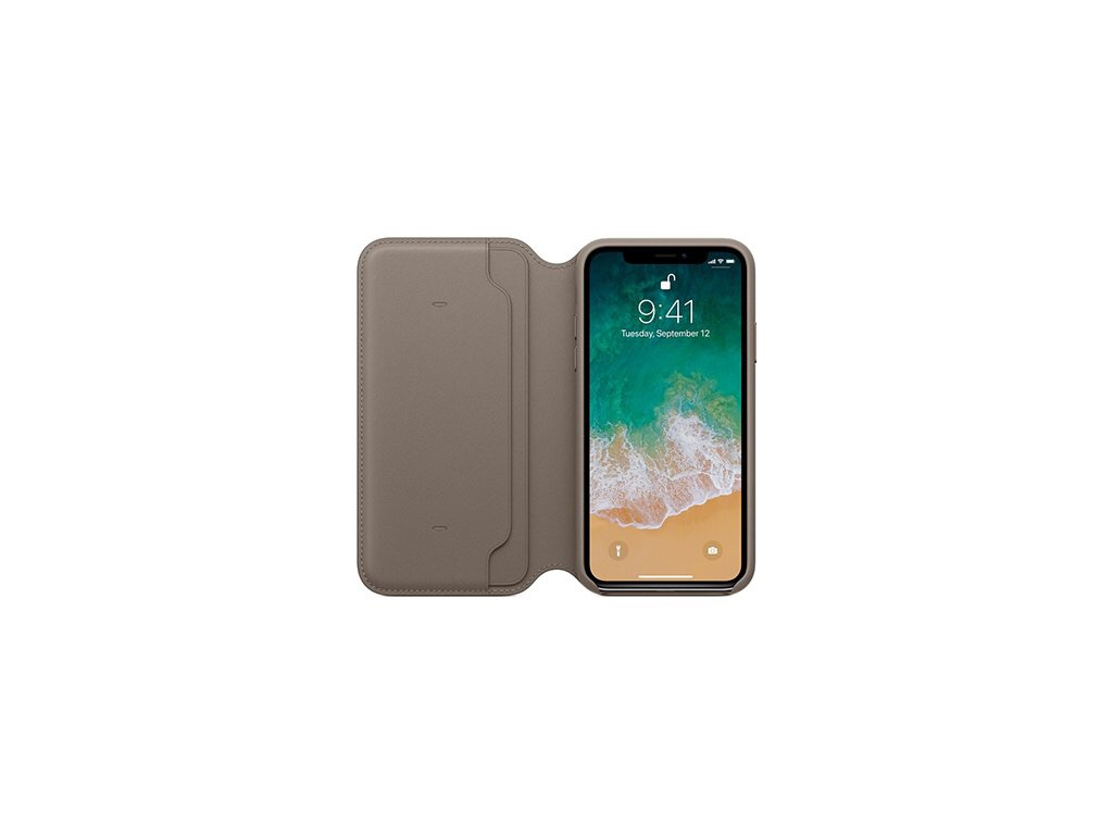 iPhone X Leather Folio case Taupe
