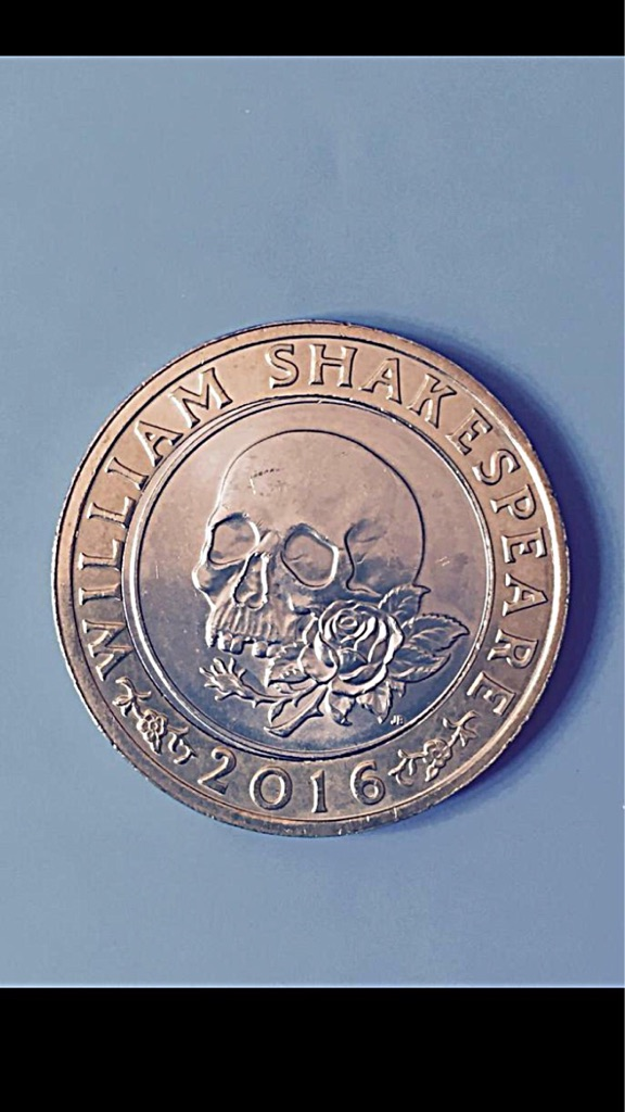 2 pound coin William Shakespeare rose and skull