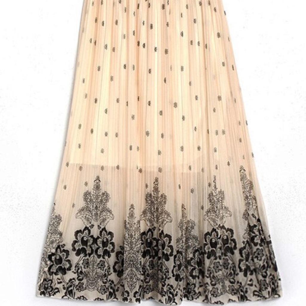 Belt Chiffon Long Skirt Maxi Dress BEIGE