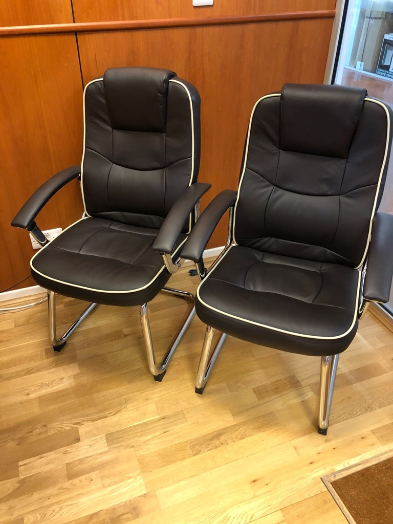 2 x Dark Brown Faux Leather Office Chairs