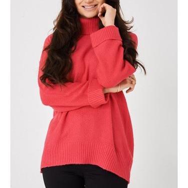 Pink textured turtle neck jumper