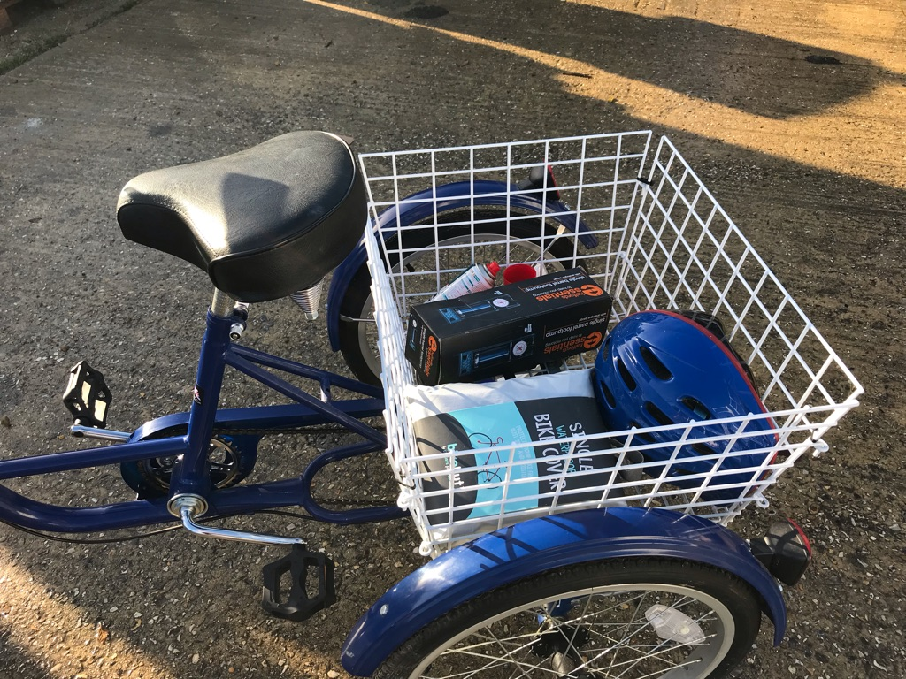 Three wheeler adult bike with carrier and accessories