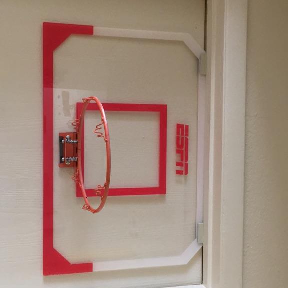 Red and white ESPN door hanging basketball hoop