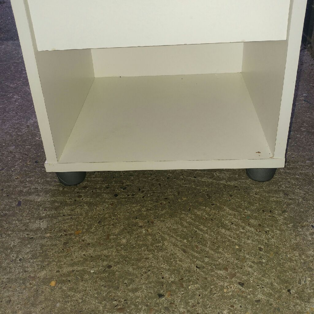 White bedside table with draw