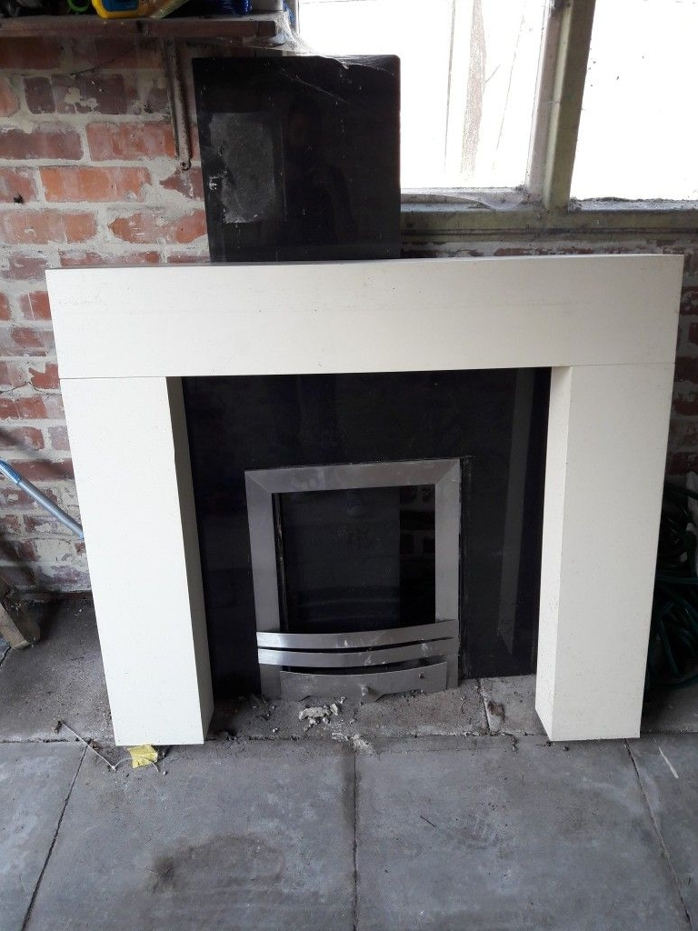 FIREPLACE ( solid marble with wooden mantelpiece)