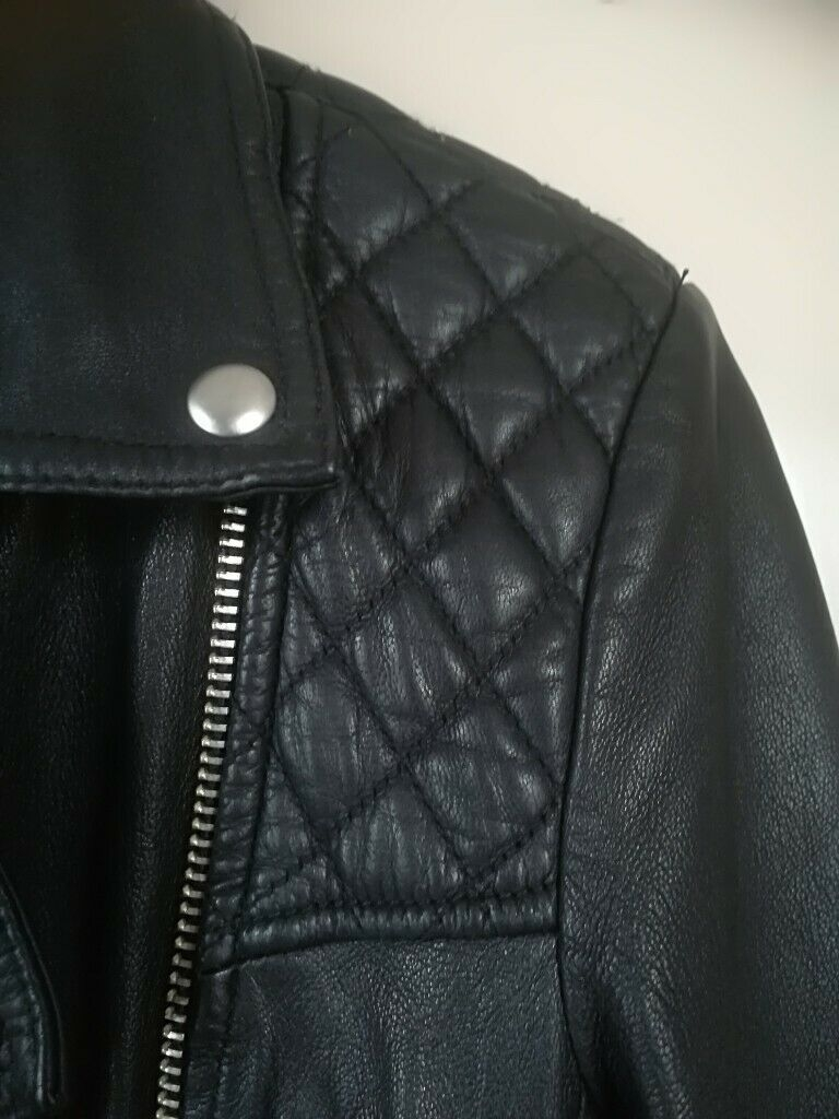 "All Saints ""Catch"" Black leather Biker Jacket - (Women's Size 6)"