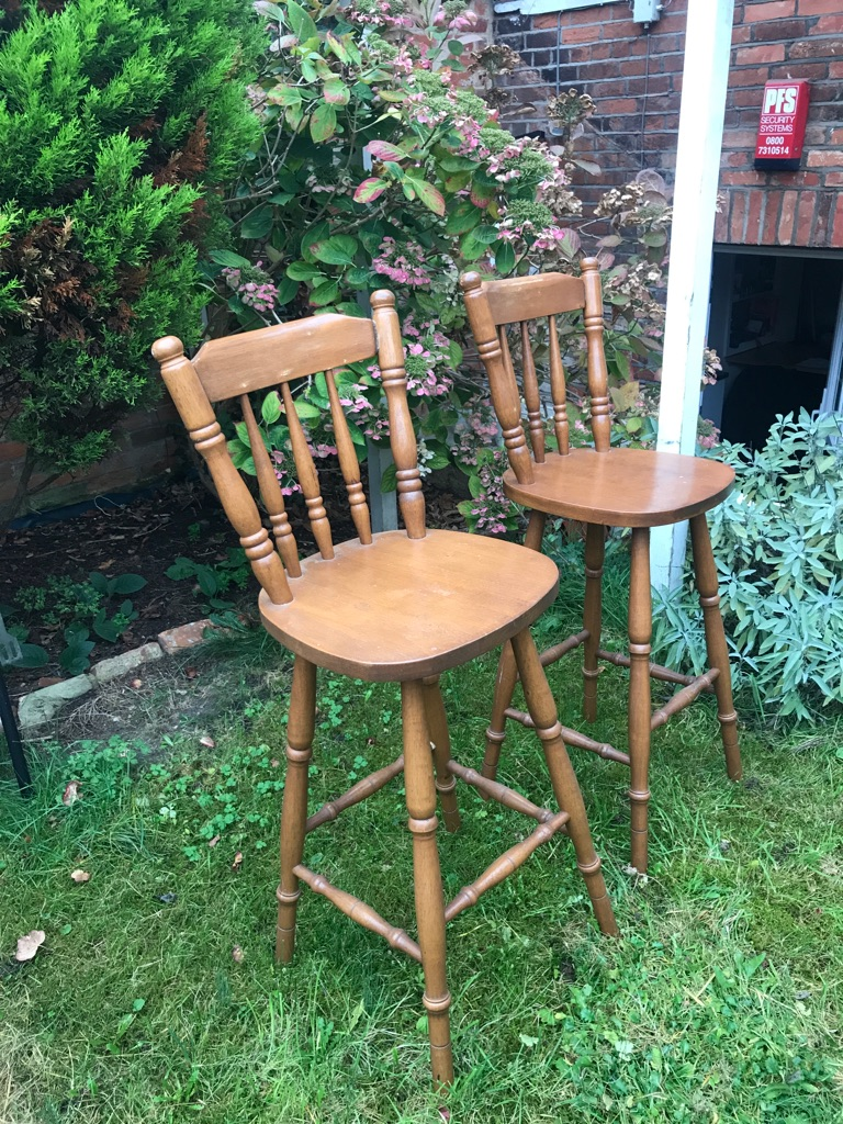 Pleasant Pair Of Early Settler Traditional Antique Pine Breakfast Bar Stools Evergreenethics Interior Chair Design Evergreenethicsorg