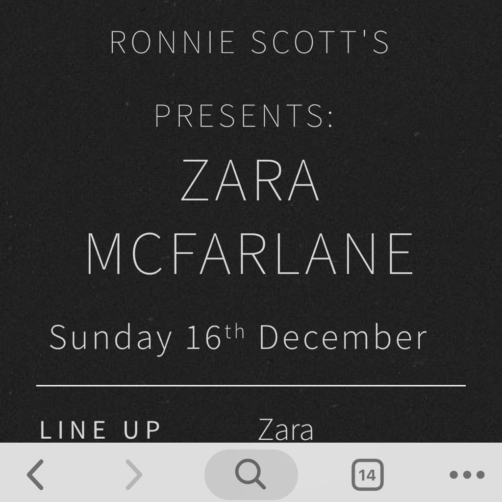 2x Zara McFarlane concert tickets (£15 each)