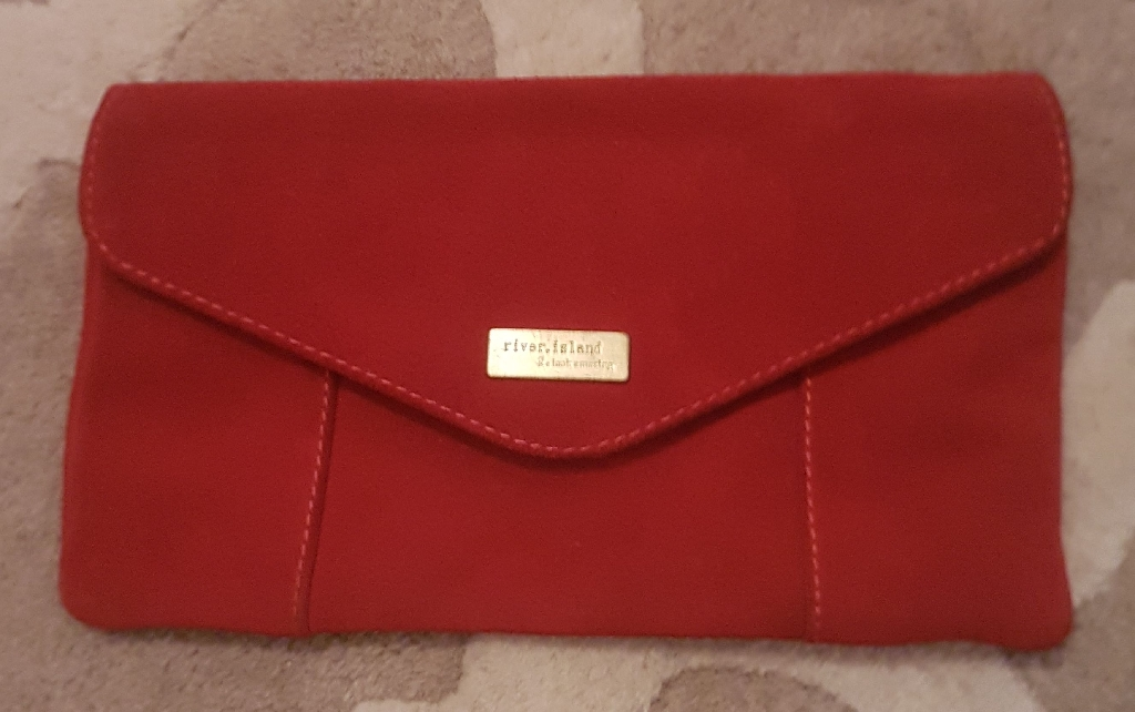 River Island red suede clutch bag