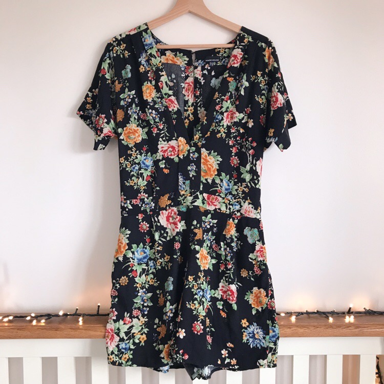 Warehouse Black Floral Playsuit with Pockets!