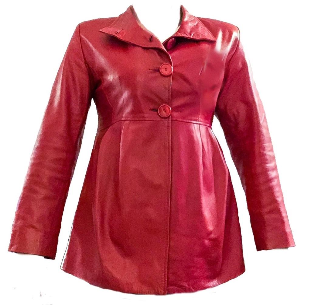 Rico Piel Red Leather Pea Coat