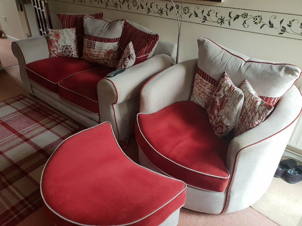 Sofa and swivel chair with foot stool