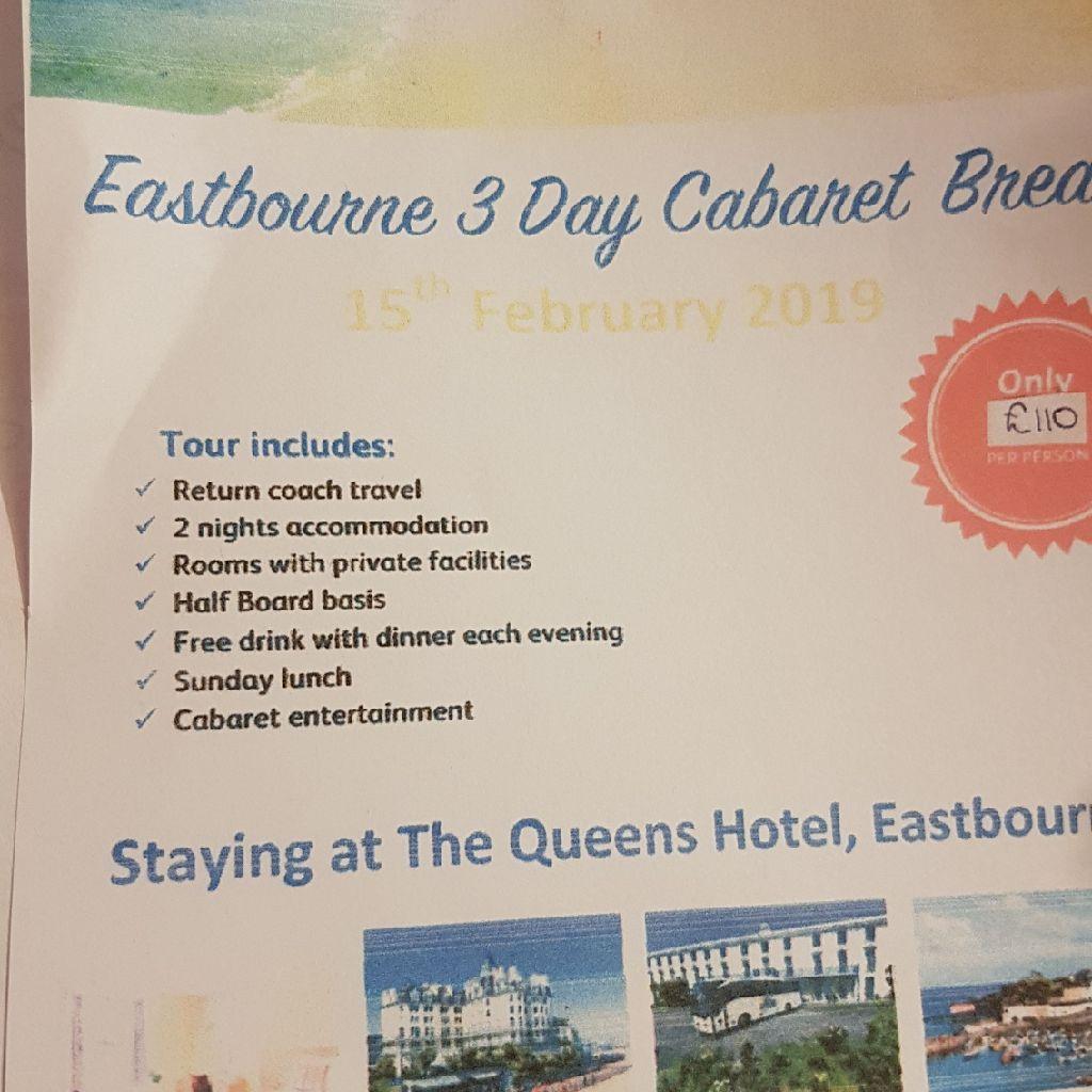 Cabaret weekend away in Eastbourne