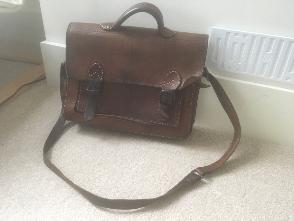 Beautiful hand-stitched brown leather satchel