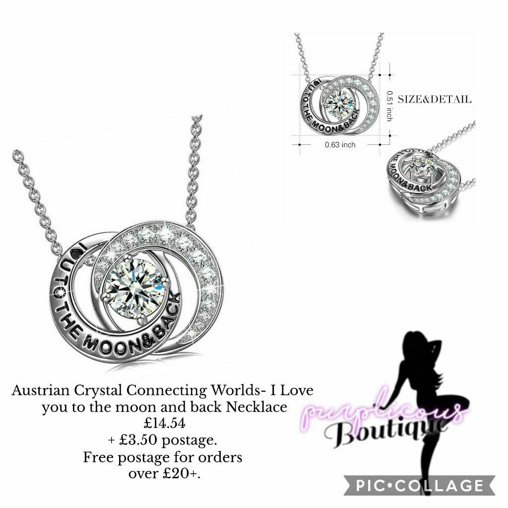 Austrian Crystal Connecting Worlds- I Love you to the moon and back Necklace