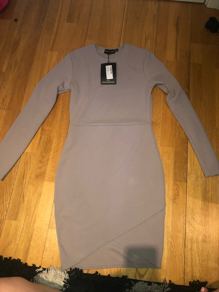 Pretty little thing grey bodycon wrap dress